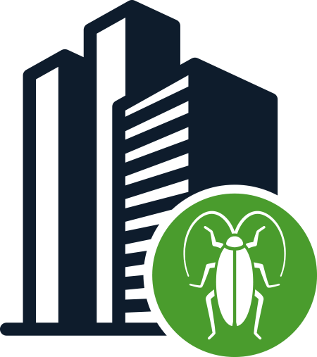 Blue building and green cockroach logo