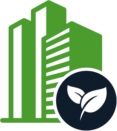 Green building with blue leaves logo